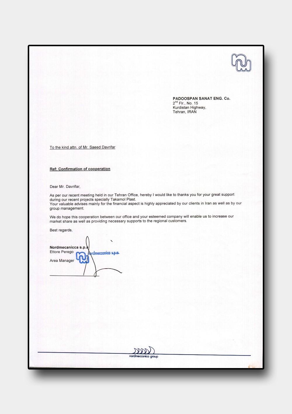 تقدیرنامه شرکت nordmeccanica